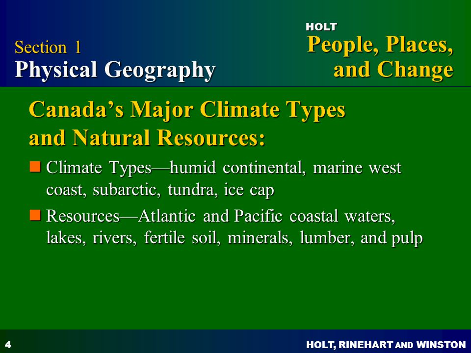 Canada's Major Climate Types and Natural Resources: