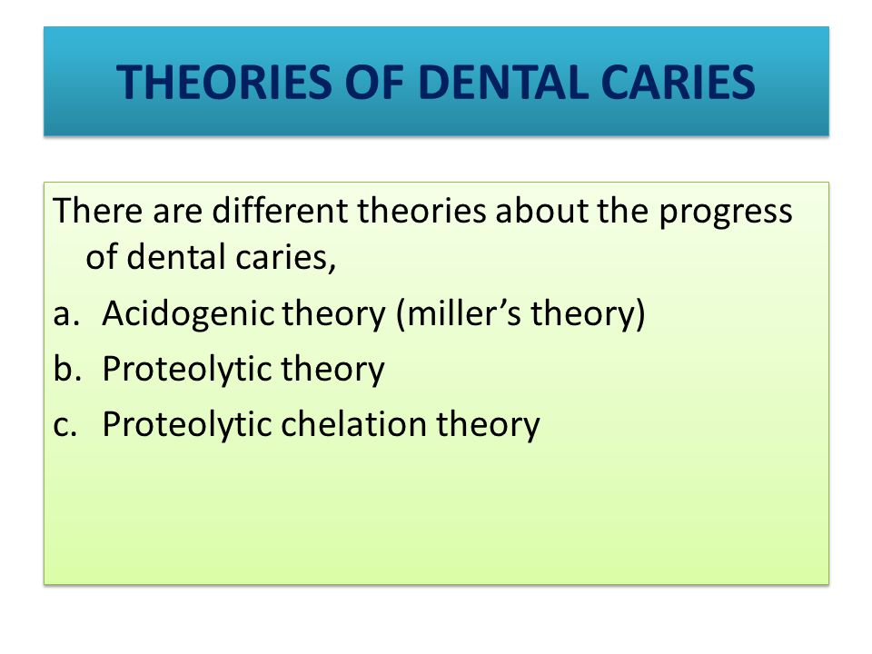 THEORIES OF DENTAL CARIES