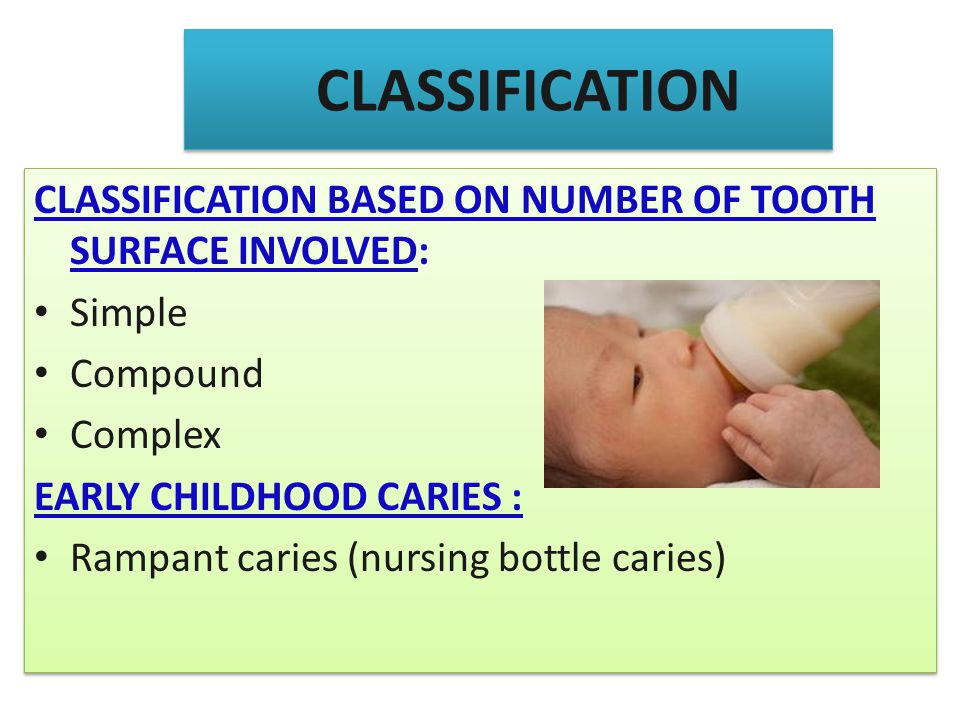 CLASSIFICATION CLASSIFICATION BASED ON NUMBER OF TOOTH SURFACE INVOLVED: Simple. Compound. Complex.