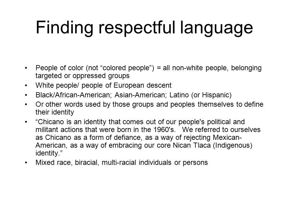 Finding respectful language