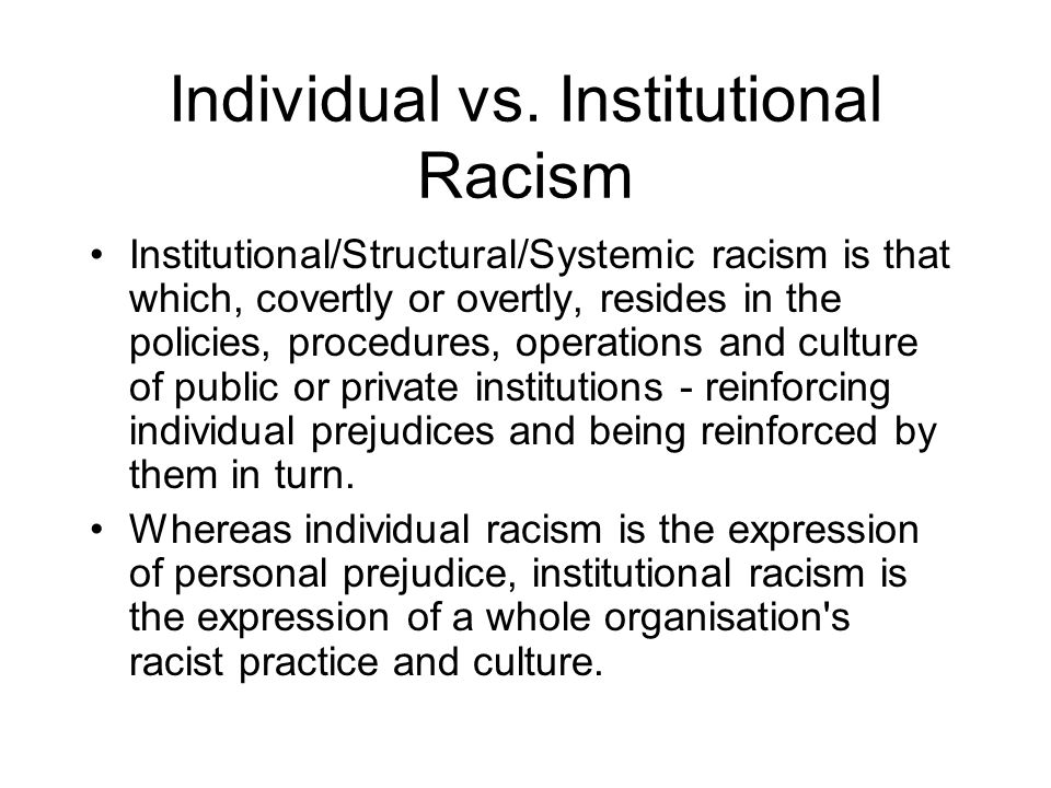 Individual vs. Institutional Racism
