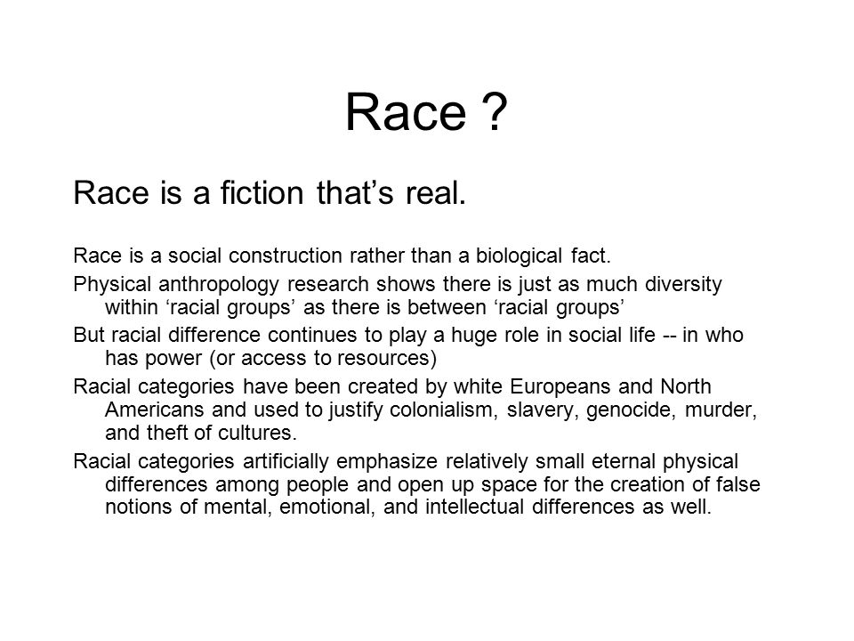 Race Race is a fiction that's real.