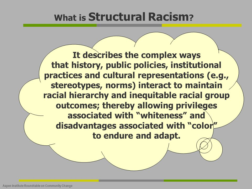 What is Structural Racism It describes the complex ways