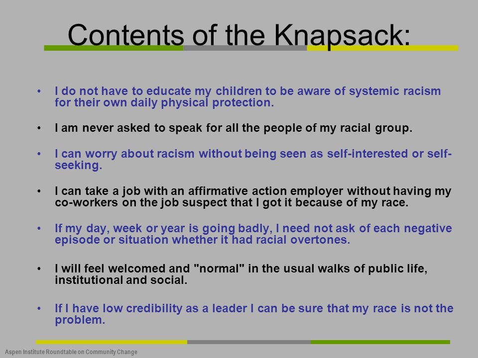 Contents of the Knapsack: