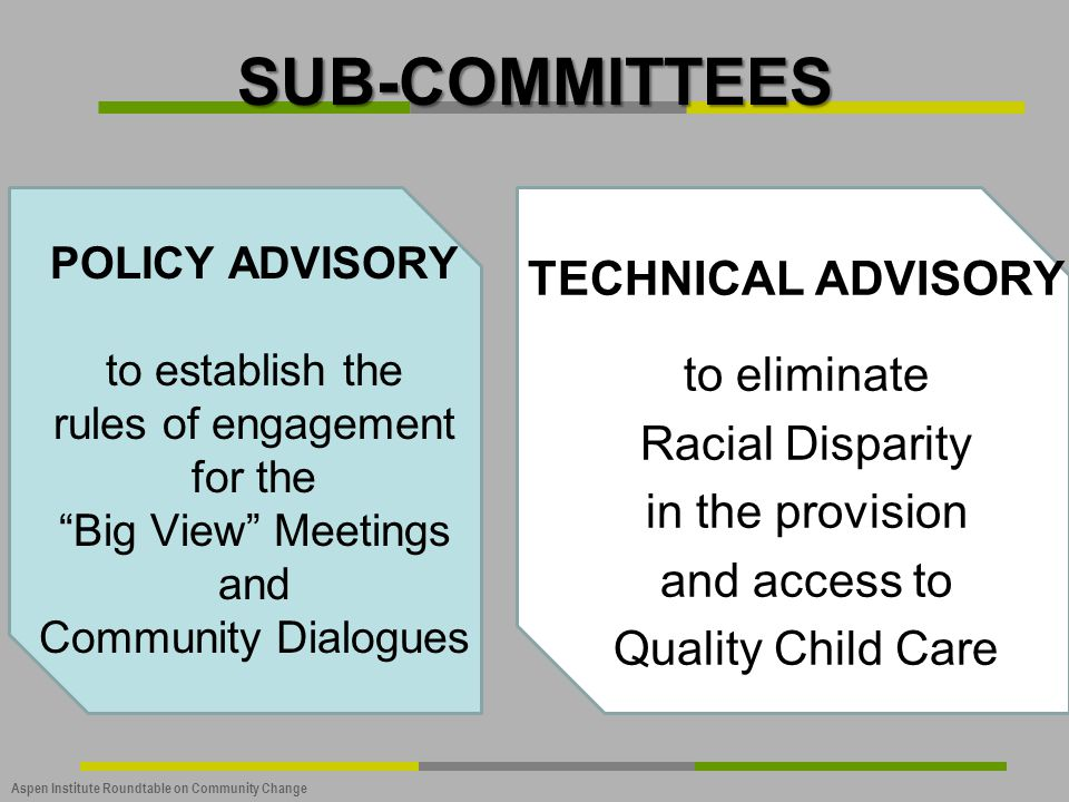 SUB-COMMITTEES Technical Advisory to eliminate Racial Disparity