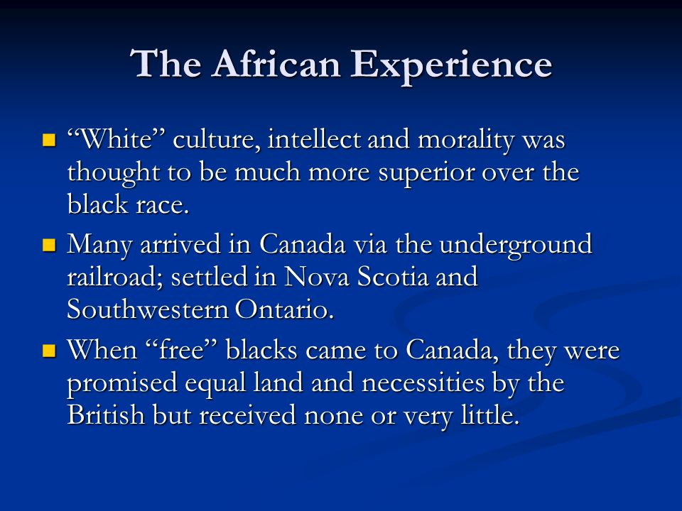 The African Experience
