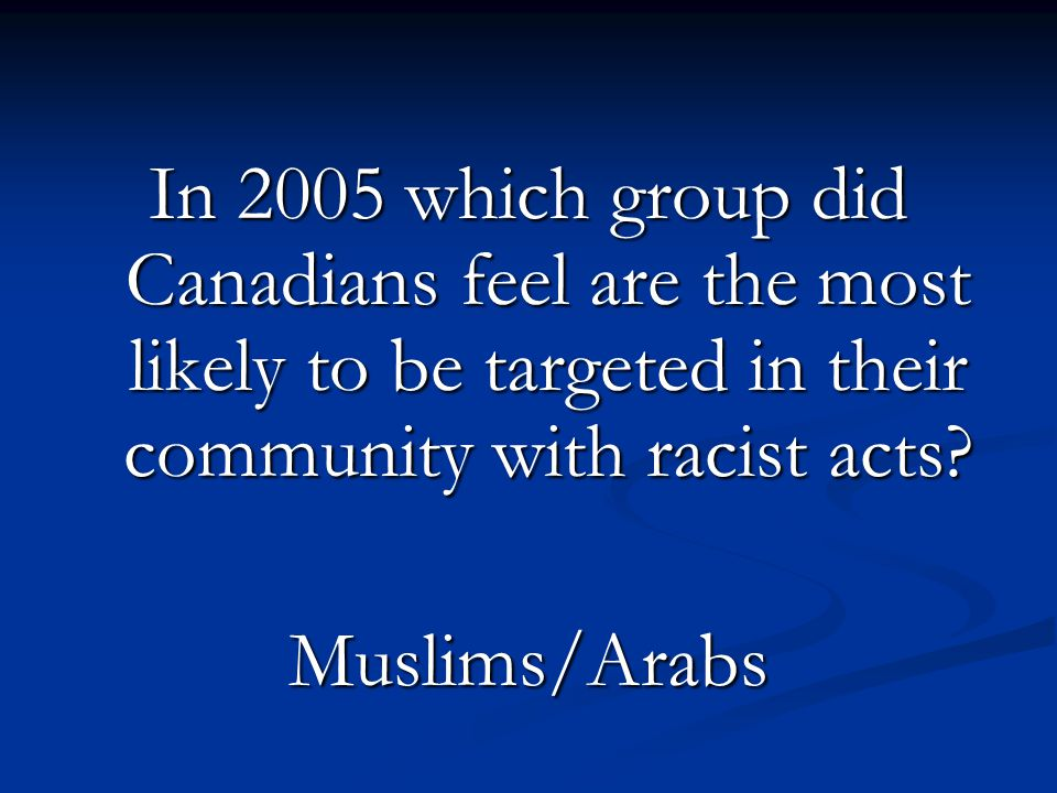 In 2005 which group did Canadians feel are the most likely to be targeted in their community with racist acts