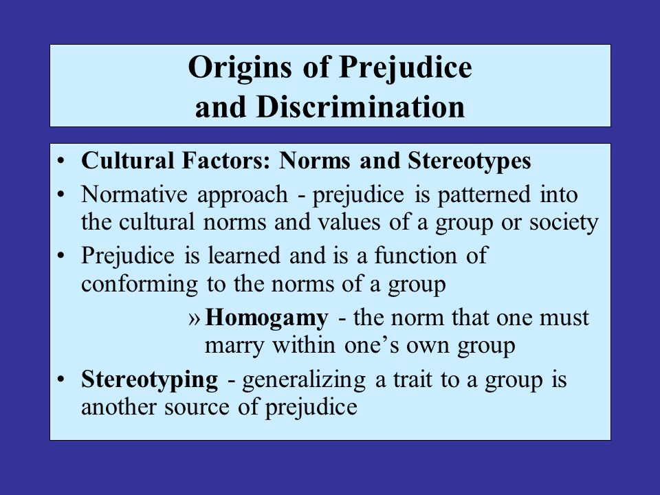 Prejudice and stereotyping in society