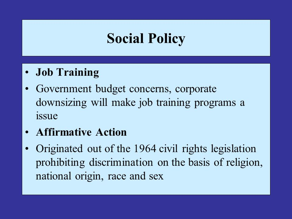 Social Policy Job Training