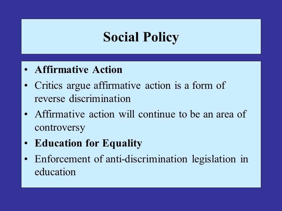 Social Policy Affirmative Action