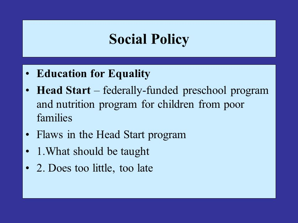 Social Policy Education for Equality