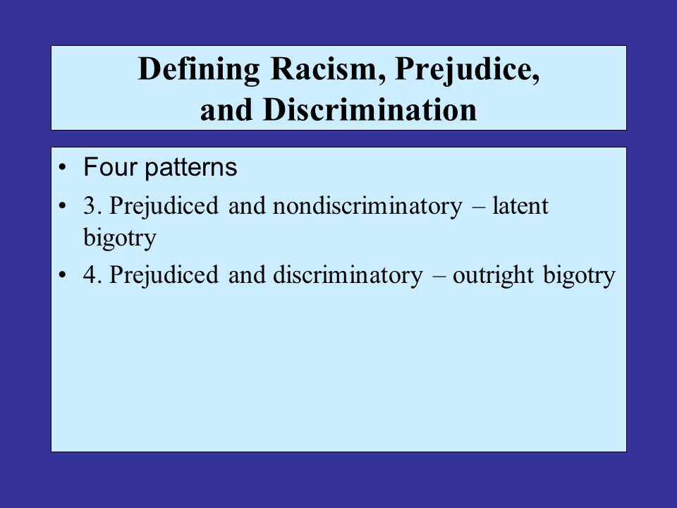 Defining Racism, Prejudice, and Discrimination