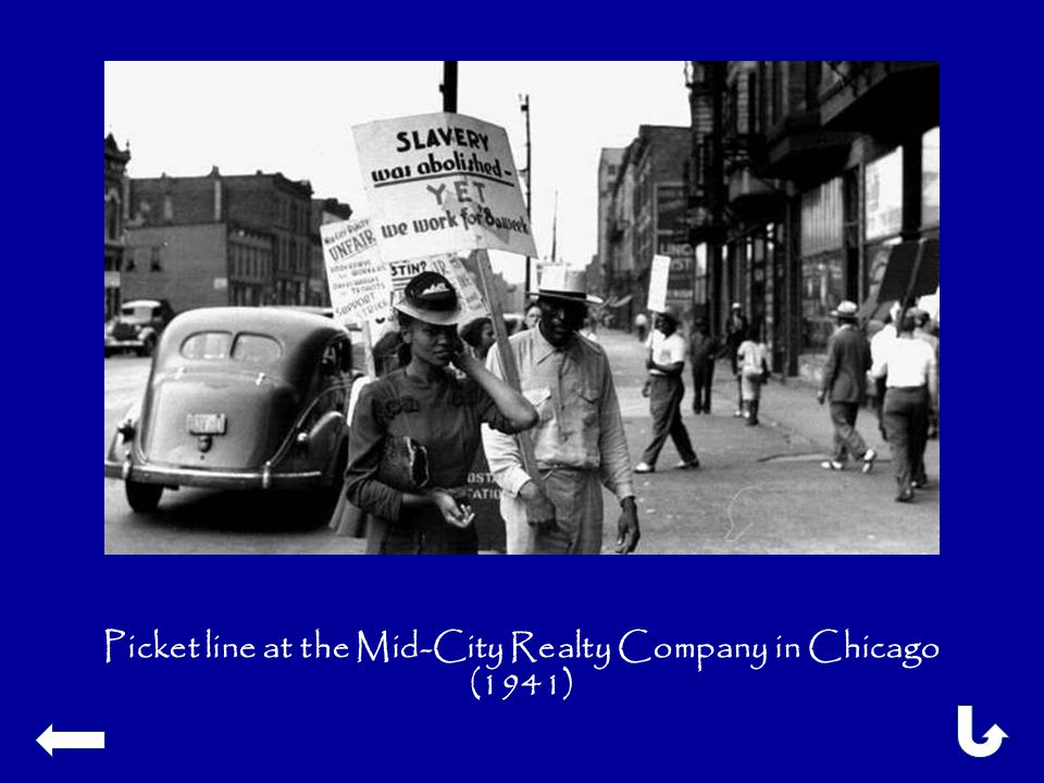 Picket line at the Mid-City Realty Company in Chicago (1941)