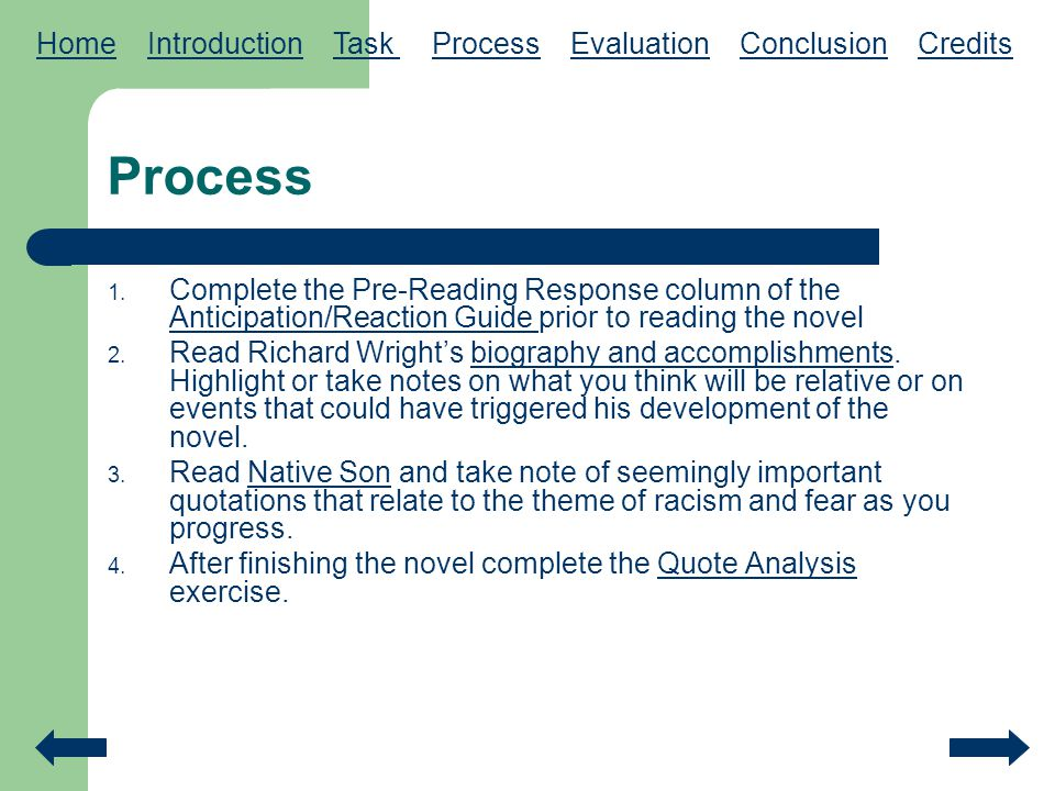 Process Home Introduction Task Process Evaluation Conclusion Credits