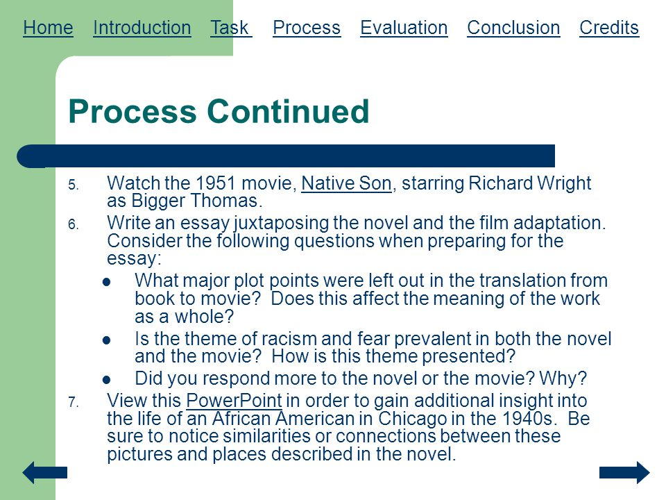 racism and fear an in depth study of native son ppt  home introduction task process evaluation conclusion credits