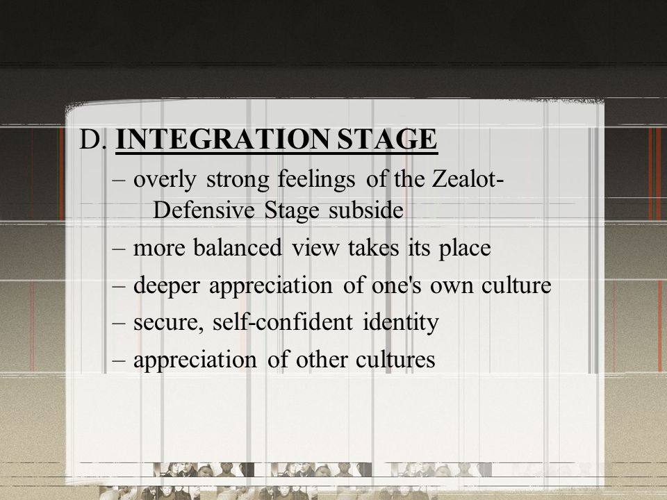 D. INTEGRATION STAGE overly strong feelings of the Zealot- Defensive Stage subside. more balanced view takes its place.