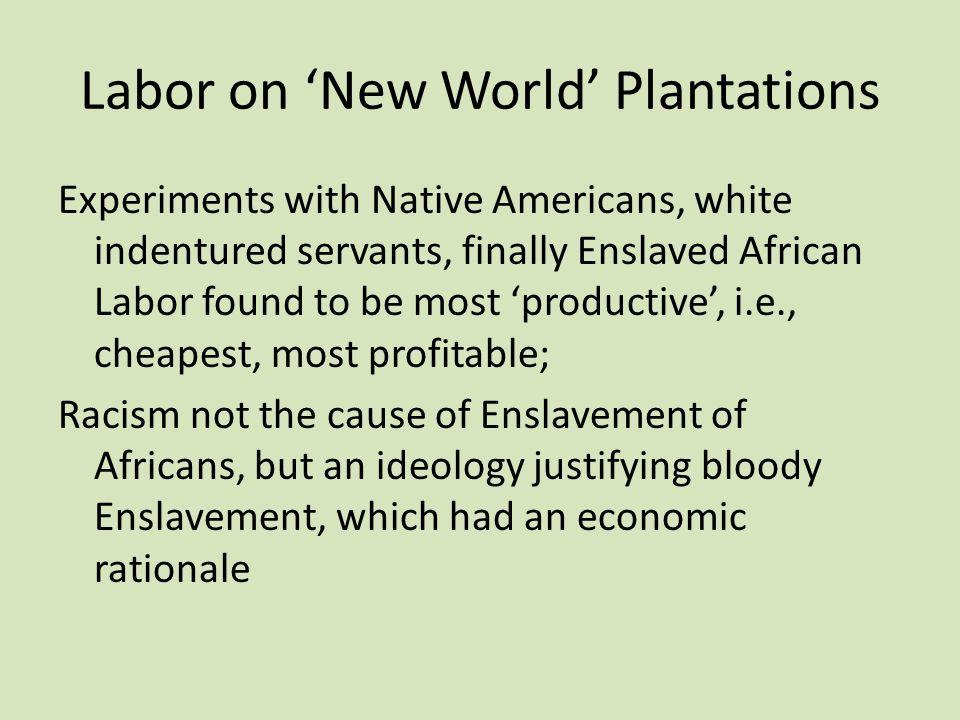 Labor on 'New World' Plantations