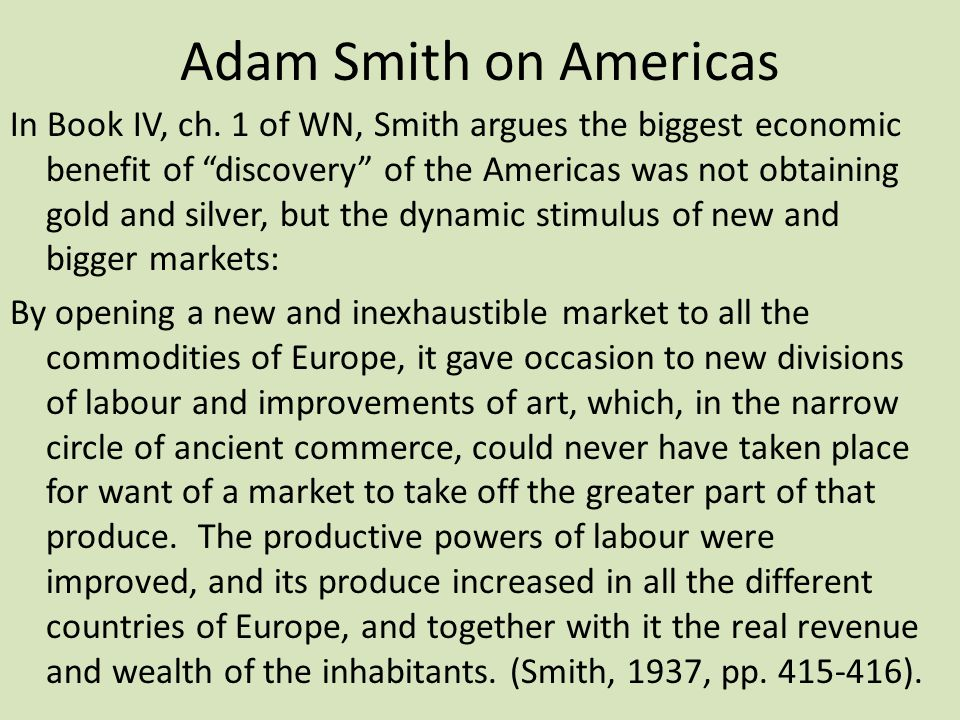Adam Smith on Americas