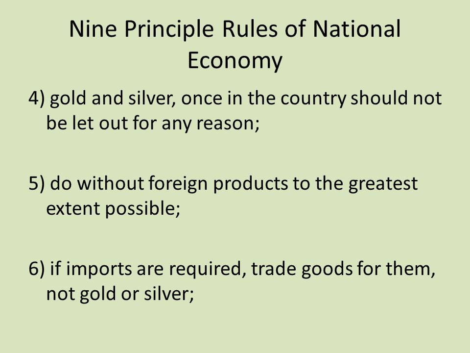 Nine Principle Rules of National Economy