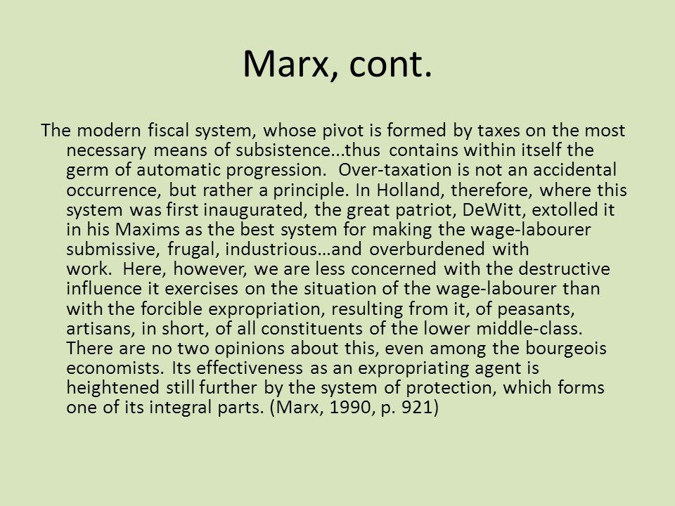 Marx, cont.