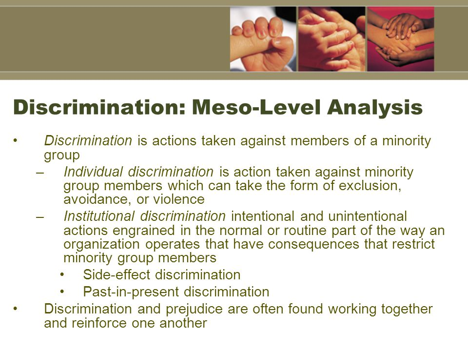 Discrimination: Meso-Level Analysis