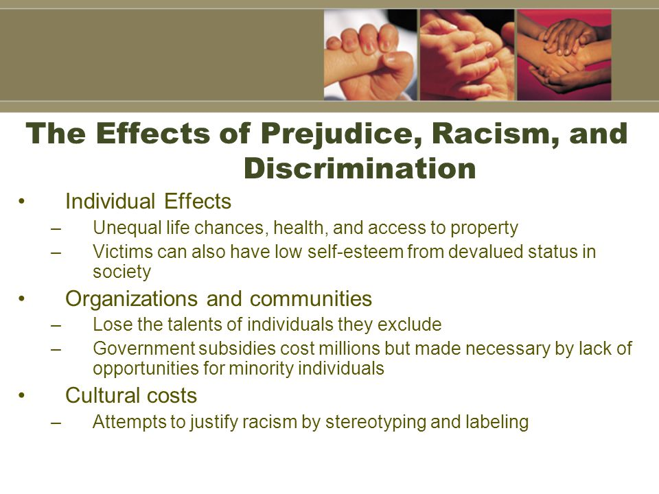 The Effects of Prejudice, Racism, and Discrimination