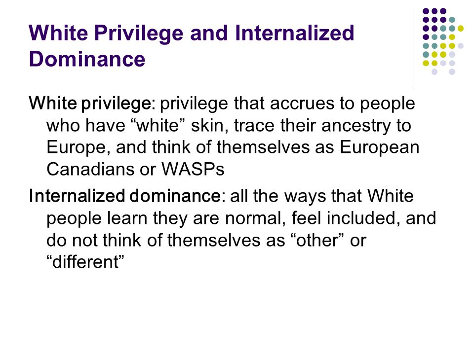 White Privilege and Internalized Dominance