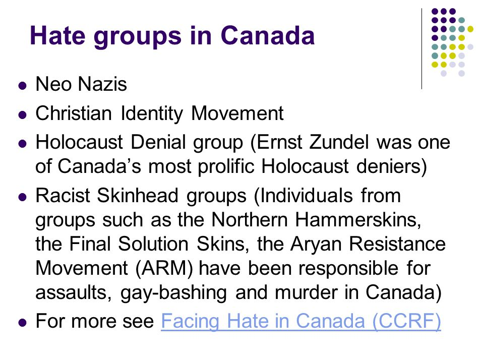Hate groups in Canada Neo Nazis Christian Identity Movement