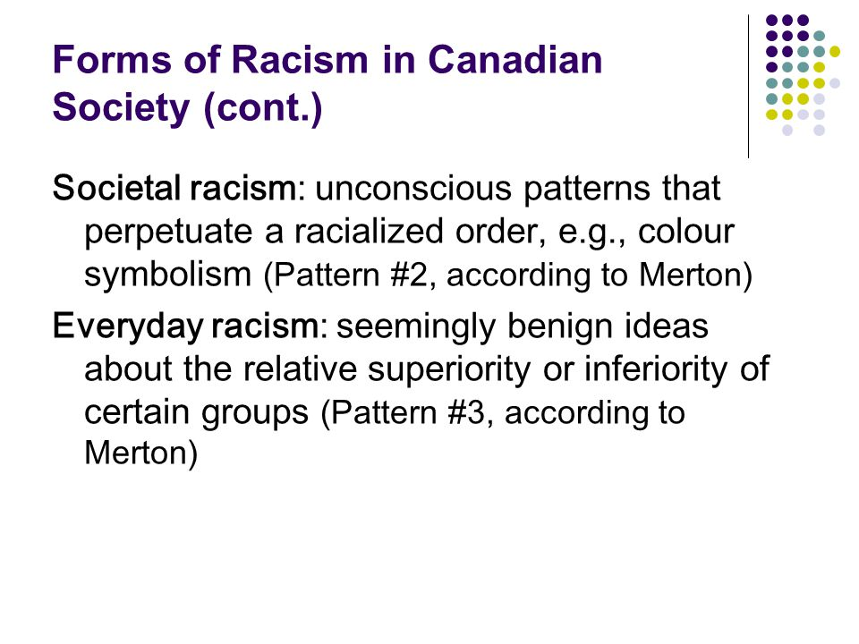 Forms of Racism in Canadian Society (cont.)