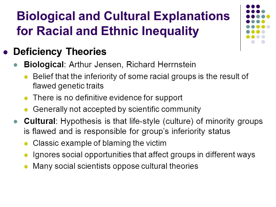 Biological and Cultural Explanations for Racial and Ethnic Inequality