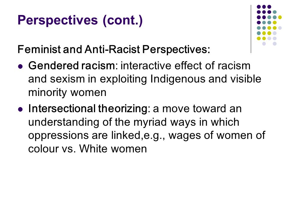 Perspectives (cont.) Feminist and Anti-Racist Perspectives: