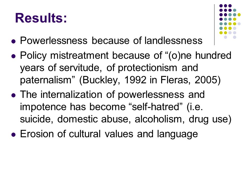 Results: Powerlessness because of landlessness