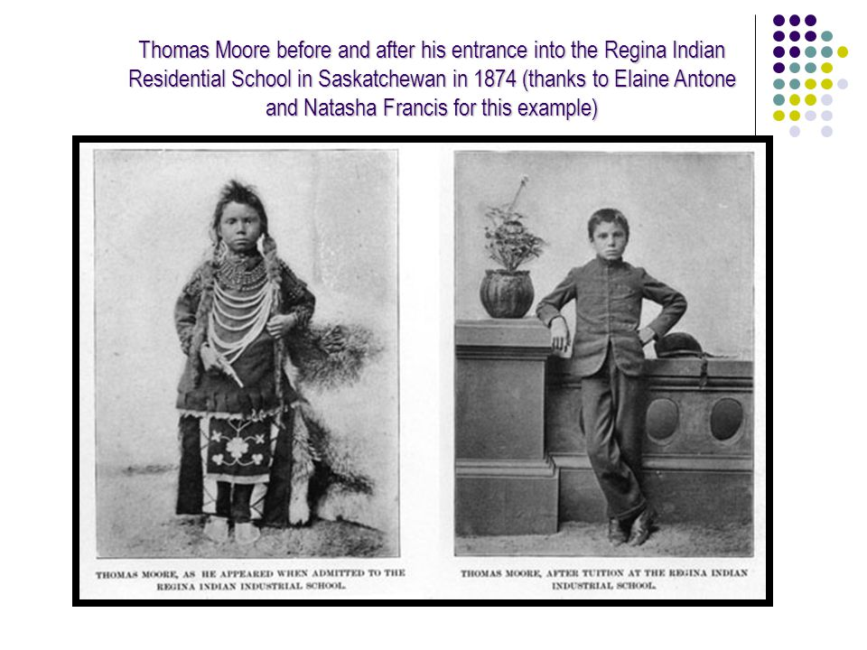 Thomas Moore before and after his entrance into the Regina Indian Residential School in Saskatchewan in 1874 (thanks to Elaine Antone and Natasha Francis for this example)