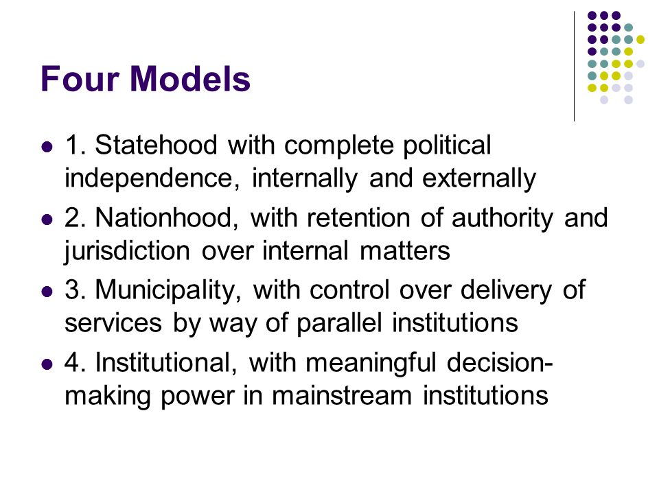 Four Models 1. Statehood with complete political independence, internally and externally.