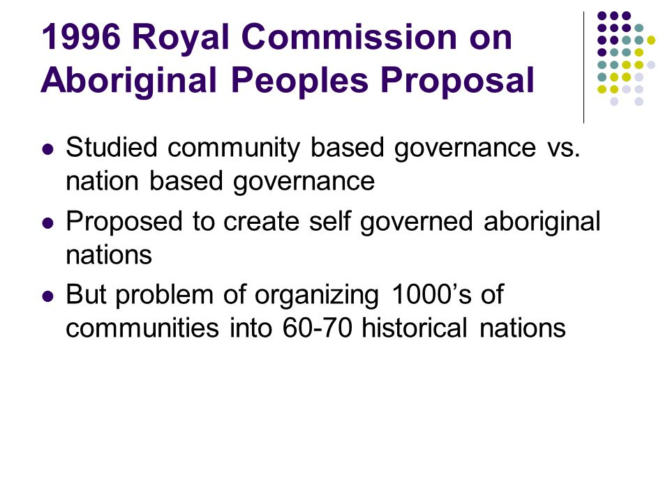 1996 Royal Commission on Aboriginal Peoples Proposal