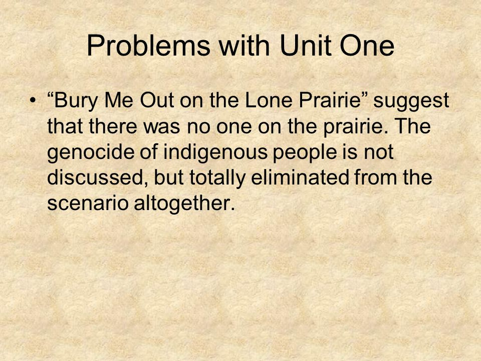 Problems with Unit One