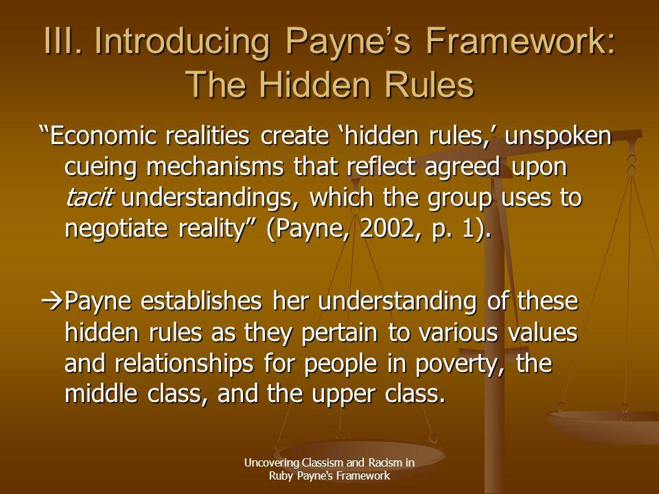 III. Introducing Payne's Framework: The Hidden Rules