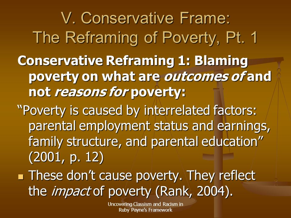 V. Conservative Frame: The Reframing of Poverty, Pt. 1