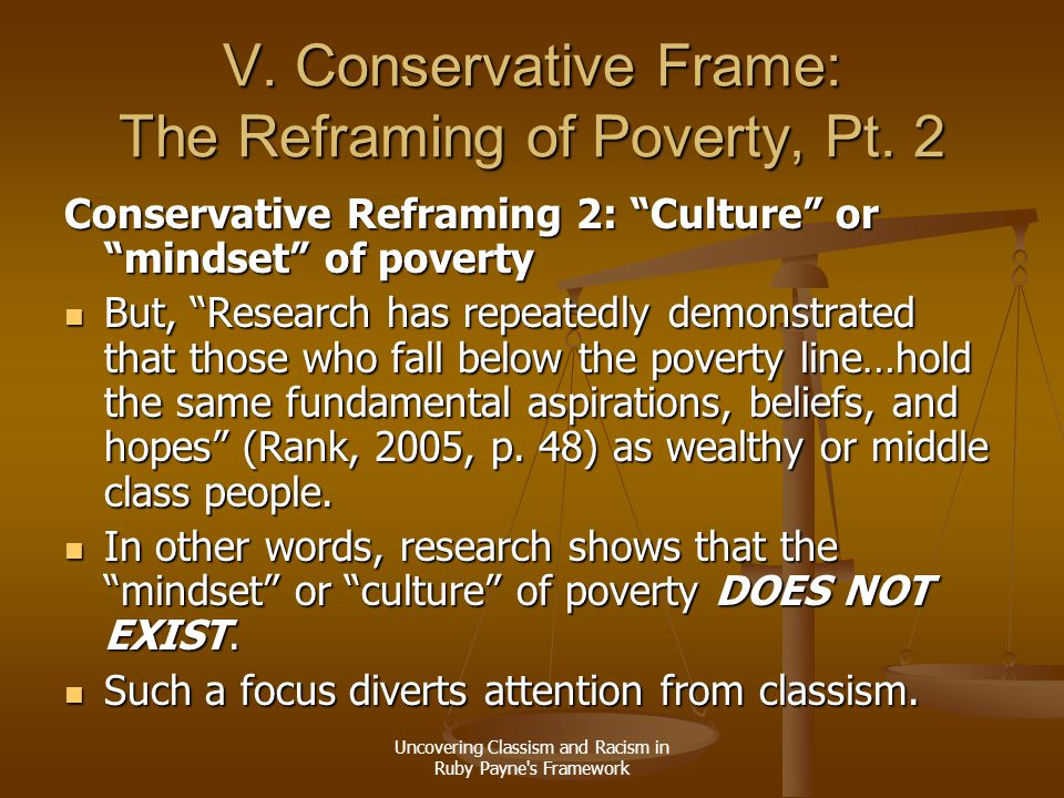 V. Conservative Frame: The Reframing of Poverty, Pt. 2