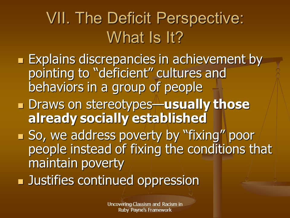 VII. The Deficit Perspective: What Is It