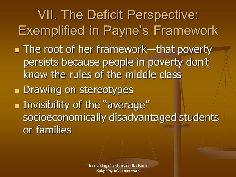 VII. The Deficit Perspective: Exemplified in Payne's Framework