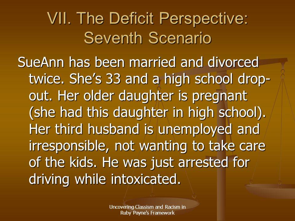 VII. The Deficit Perspective: Seventh Scenario