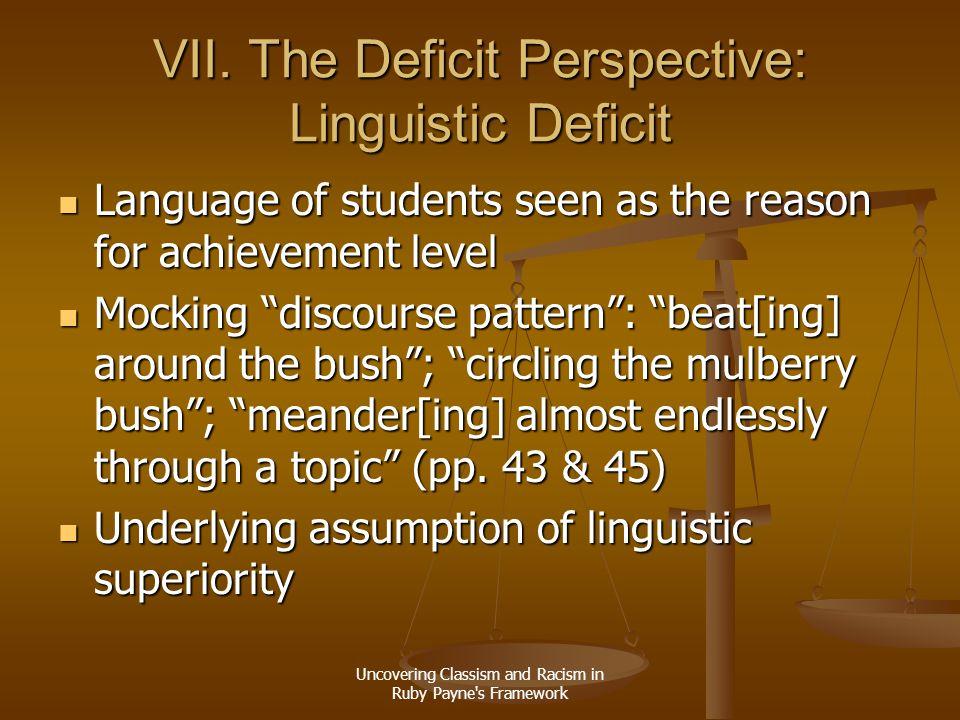 VII. The Deficit Perspective: Linguistic Deficit