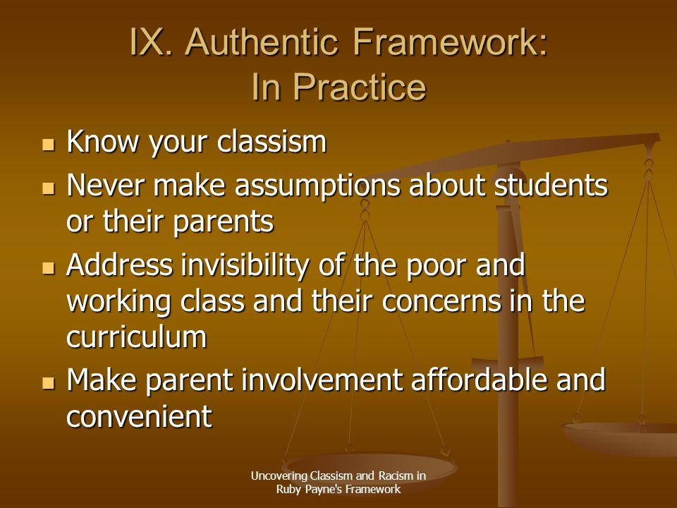 IX. Authentic Framework: In Practice