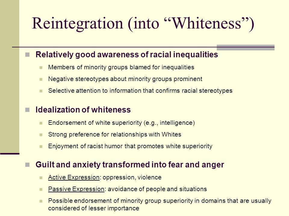 Reintegration (into Whiteness )