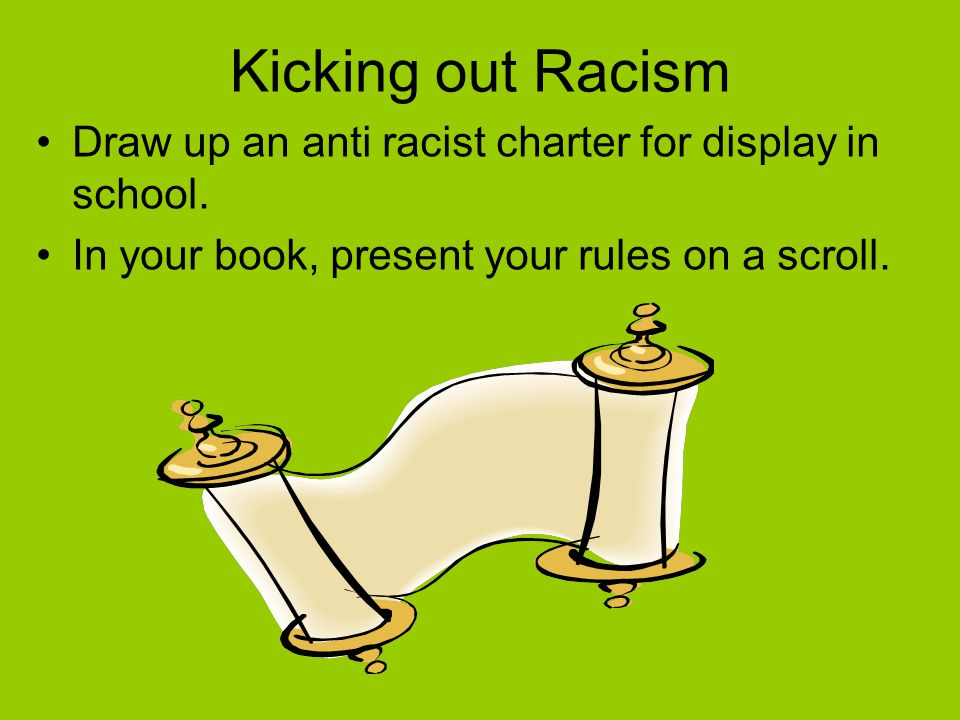 Kicking out Racism Draw up an anti racist charter for display in school.