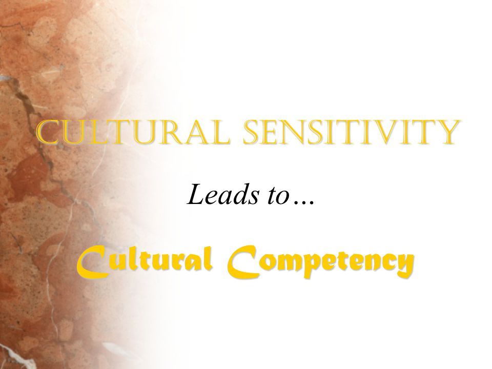 Cultural Sensitivity Leads to… Cultural Competency