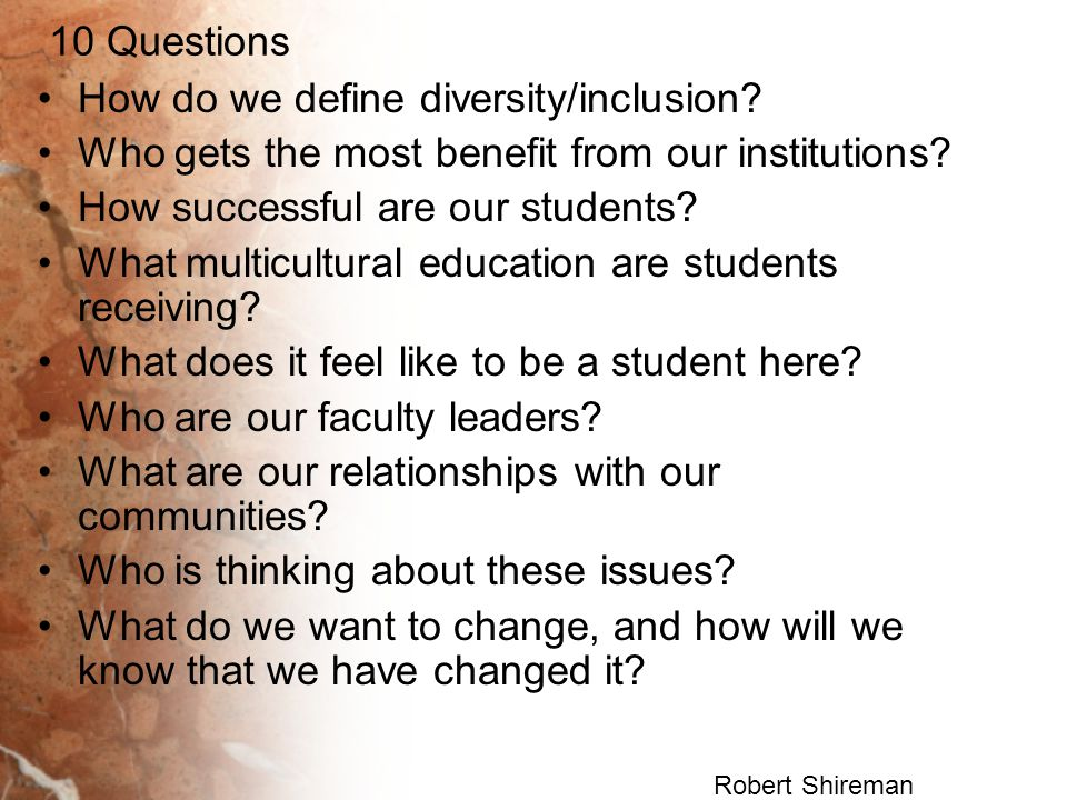 How do we define diversity/inclusion