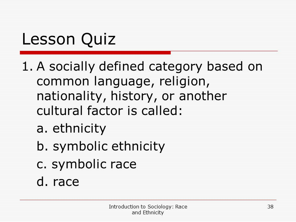 Introduction to Sociology: Race and Ethnicity