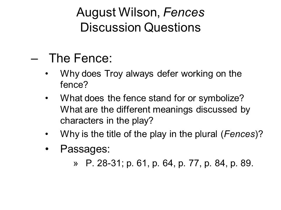 Fences august wilson essay questions